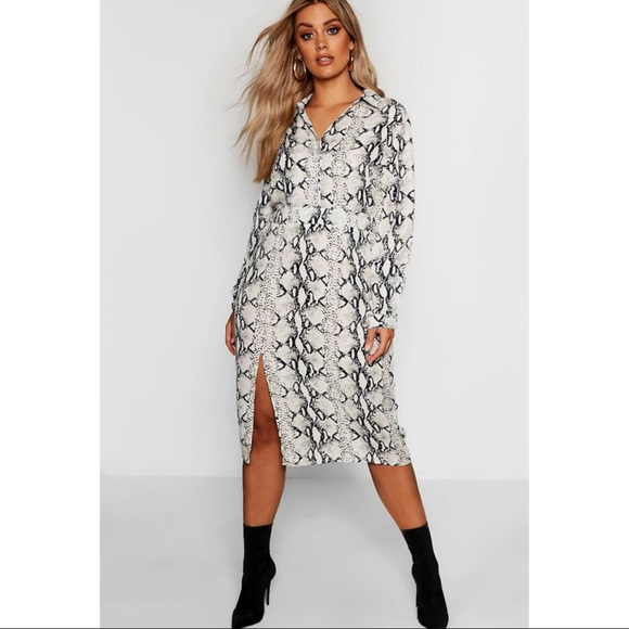 e0eb0456a Boohoo Plus Dresses | Snake Print Shirt Dress With Front Slit | Poshmark